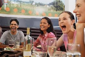 laughing at Restaurant
