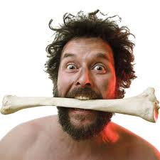 person with bone in the mouth